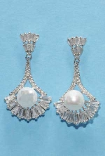 """Cubic Zirconia/Pearl Baguette/Middle Pearl 1"""" Post Earring"""