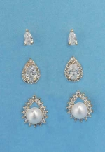 Cubic Zirconia/Gold Three Separated Pieces Pear Stone  Post Earring