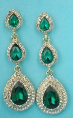 "Emerald/Clear Gold Three Linked Pear Stone 2"" Earring"