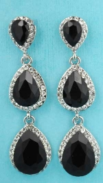 "Jet/Clear Silver Three Linked Pear Stone 2"" Post Earring"