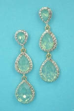 "Peridot/Clear Gold Three Pear Crescent Stones 2.2"" Post Earring"
