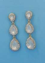 Opal/Clear Gold Three Pear Stone Crescent Earring