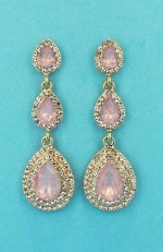 "Rose/Clear Gold Three Linked Pear Stone 2"" Post Earring"