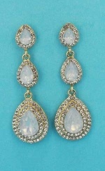 "Opal/Clear Gold Three Linked Stone 2"" Post Earring"