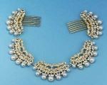Pearl/Clear Multiple Stone Hairband Comb