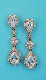 """Cubic Zirconia/Rose Gold Three Linked Stone Center Flower Shape 1.3"""" Post Earring"""