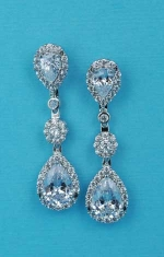 """Cubic Zirconia/Silver Three Linked Stone Center Flower Shape 1.3"""" Post Earring"""