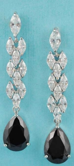 "Cubic Zirconia/Jet Marquise/Pear Stone 1.5"" Post Earring"