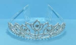 Clear/Silver Multiple Round Stone Leave Shape Tiara