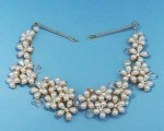 Pearl/Clear Gold Multiple Flower Shape Headband