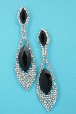 """Jet/Clear Silver Marquise Shape Round Bottom 3"""" Earring"""