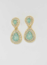 Peridot/Clear Gold Two Linked Pear Stone Post Earring