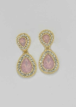 LT Rose/Clear Gold Two Pear Shape Post Earring