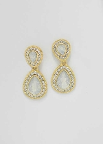 Clear/Gold Two Linked Pear Shape Post Earring