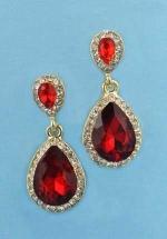 "Siam Dark/Clear Gold Two Linked Pear Stone 1"" Post Earring"