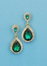 """Emerald/Clear Gold Two Linked Pear Stone 1"""" Post Earring"""