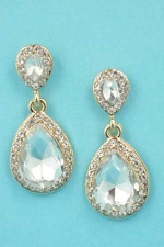 "Clear/Gold Two Stone Linked 1.3"" Post Earring"
