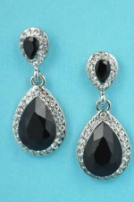 """Jet/Clear Silver Two Pear Stone Linked 1.3"""" Post Earring"""
