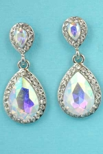 "Aurora Borealis/Clear Silver Two Pear Stone 1"" Post Earring"