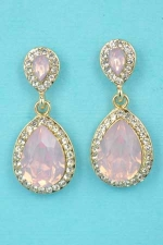 "Rose/Clear Gold Two Pear Stone 1"" Post Earring"