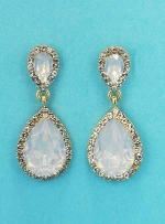 "Opal/Clear Gold Three Pear Crescent Stones 2.2"" Post Earring"