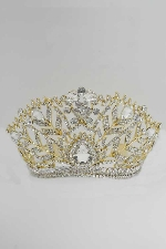 "Clear/Gold Branch 6"" Long Tiara"