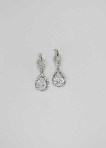 Cubic Zirconia/Silver Top Round Shape Bottom Pear Stone Earring