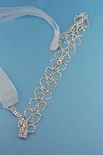 Clear/Silver Drop Shape Round Stone Rhinestone Ribbon Belt