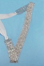 Clear/Silver Eight Rows Small Round Stone Belt