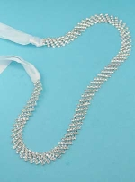 Clear/Silver Round 5 Row Small Round Stone Belt