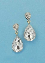 "Clear/Gold Top Small/Medium Pear Stone 1"" Post Earring"