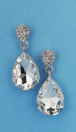"""Clear/Silver Top Small Medium Bottom Pear Stone 1"""" Post Earring"""