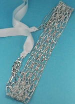Clear/Silver Round Stone Thick Belt