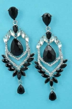 """Jet/Clear Silver Pear/Marquise Stone 2.5"""" Post Earring"""