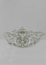 "Aurora Borealis/Clear Silver Big Branch Shape 7"" Long Tiara"