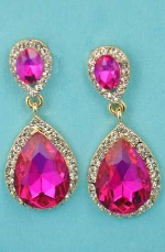"Fuchsia/Clear Gold Two Linked Pear Stone 1.5"" Post Earring"