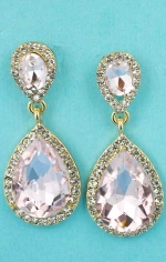 "Rose/Clear Gold Two Linked Pear Stone 1.5"" Post  Earring"