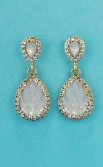 Opal/Clear Gold Two Pear Linked Stone Earring