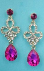 Fuchsia/Clear Gold Cemter Flower Shape Dangle Stone Earring