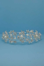 Pearl/Clear Silver Branch Shape Flower Headband
