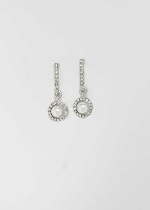 Pearl/Clear Top Baguette Bottom Round Stone Earring