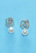 "Pearl/Clear Top Swirl Shape 1"" Post Earring"