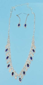 Sapphire/Clear Silver Marquise/Round Stone Set