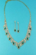 Emerald/Clear Gold Round/Marquise Set