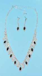 Jet/Clear Silver Marquise/Round Stone Set