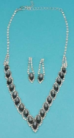 Black Diamond/Clear Silver Marquise/Small Round Stone Set