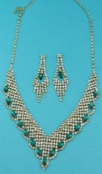 Emerald/Clear Gold Marquise/Small Round Stone Set