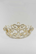 Clear/Gold Big Flower Shape Tiara