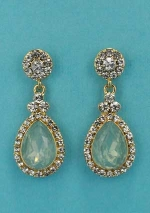 """Peridot/Clear Gold Top Round/Pear 1.5"""" Post Earring"""