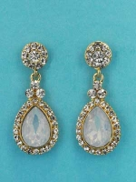 "Opal/Clear Gold Top Round/Pear 1.5"" Post Earring"